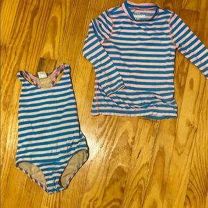 Crewcuts bathing suit and rash guard, Size 3.